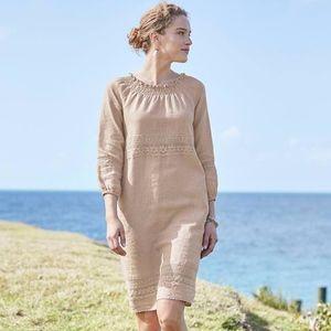 J. Jill - M - Gorgeous Flax Linen & Lace Dress